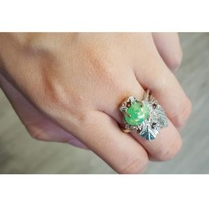 Green Fire Opal Leaves and Stones Silver Ring